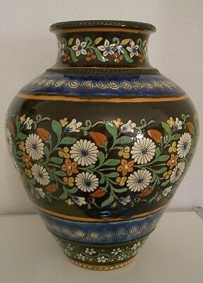 Circa 1890 THUN, THOUNE Majolica brown Vase with flowers decor