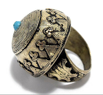 Vintage Afghan Kuchi Ring Carved Tribal Ethnic Dome Jewelry Gypsy Boho Antique