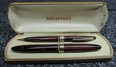 Sheaffer's Red Stripe Fountain Pen and Pencil Set Wide Bands Lifetime 14K