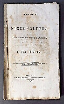 Augusta ME BANKS OF MAINE BANKING HISTORY 1847 List of Names of Stockholders & $