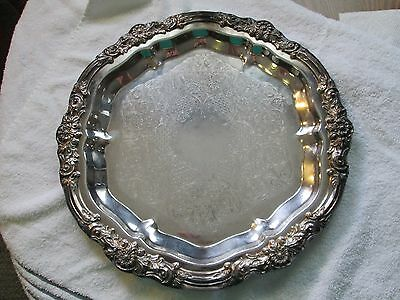 """VINTAGE +Large 14-1/4"""" Round Silverplated Silver Plate  SERVING PLATTER Repousse"""
