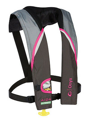 Onyx A-24 In-Sight Automatic Inflatable Pfd Life Jacket Pink Grey