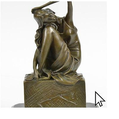 Signed Original Patoue French Artist Sitting Woman Bronze Sculpture Deco  A