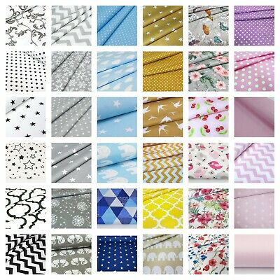 `100% Cotton fabric sold by big fat quarter, Sewing,Craft,plain,chevron,stars,