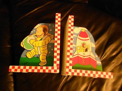 Curious George Space  Bookends ~ Spaceman~ Rocket