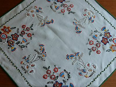 """ANTIQUE Vintage Handmade Linen Tablecloth Uniquely Hand embroidery Square 29x29"""""""