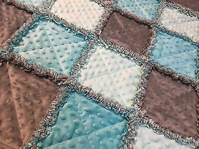 Mint/aqua and Gray minky rag quilt blanket lap baby handmade, homemade minky new