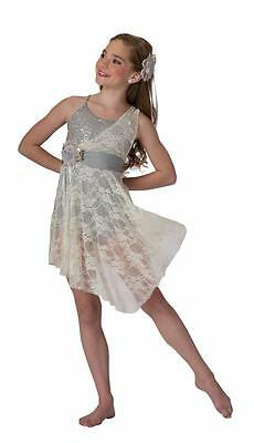 Dance Costume Large Child Gray Ivory Lace Lyrical Solo Contemporary Competition