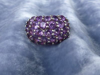Stunning Antique French Sterling Silver And Amethyst Statement Ring Hallmarked