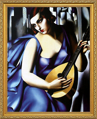 FRAMED Portrait Of A Man By Tamara De Lempicka 25x19 GELCOATED Art Print WIDE Bk