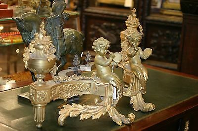 ANTIQUE LXV FRENCH GILDED BRONZE PAIR OF PALACE FIREPLACE CHE NETS, CHERUBS,19 c