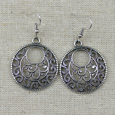 Vintage Antique Silver Hollow Round Drop Earrings For Women Classic