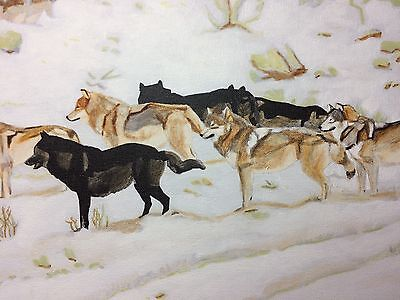 "Original Wolf Wildlife Art Wolves Pack 14x21"" Acrylic Painting Canvas"