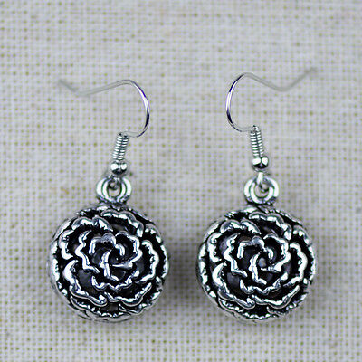 Cute Tribal Antique Silver Hollow Out Round Flower Metal Drop Earrings For Women