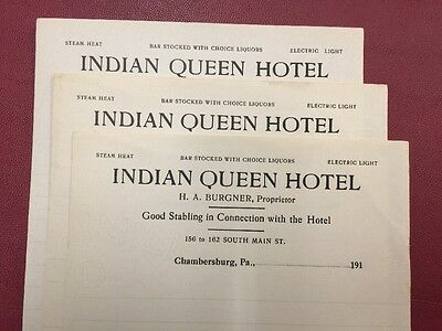 Antique Stationary - Indian Queen Hotel - Chambersburg PA - 1910s Unused!