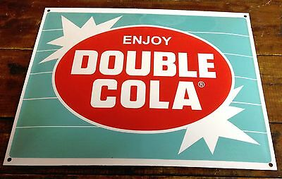 Double Cola Soda Pop Teal Blue White Stripe Starburst Porcelain Advertising Sign