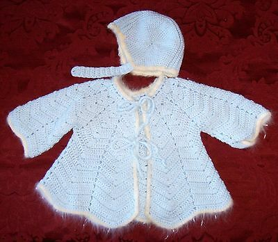 ~~ 2 Vintage Baby Clothes Girls Boys Sweater Sets 3 - 6 Months ~~