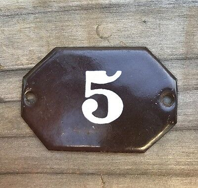 Small Vintage Porcelain Number Sign ~ Number 5 ~ Antique Porcelain Number
