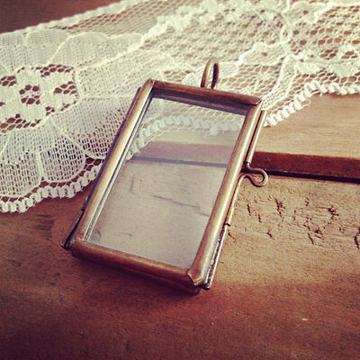 Two Sided Glass Frame Necklace Pendant Hinged Locket Charm & Chain Antique Brass