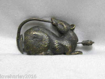 Chinese old style Bronze lucky mouse lock and key