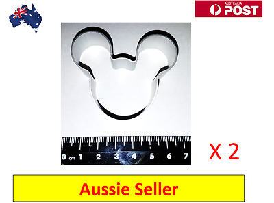 2 x Mickey Mouse Shaped Aluminium Cookie Dough Cutter (NEW  + AU Stock)