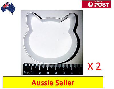 2 x Cat Face Shaped Aluminium Cookie Dough Cutter (NEW  + AU Stock)