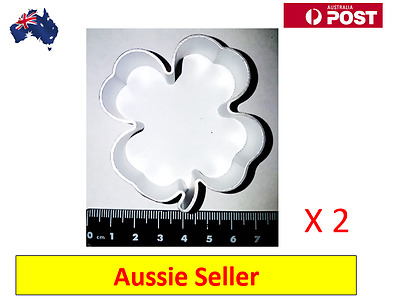 2 x Clover Leaf Shaped Aluminium Cookie Dough Cutter (NEW  + AU Stock)
