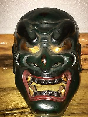 Vintage Old Signed Japanese Noh Theater Polychrome Mask