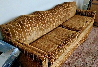 Vintage Mid Century Modern Long Gold SOFA Couch  & Cushions Chittenden & Eastman