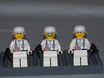LEGO 3 MINIFIG WW2 German Winter Troops with weapons