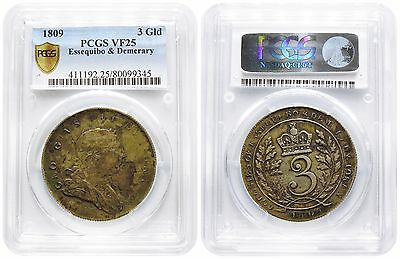 Essequibo & Demerary / Guyana, George III, AR 3 Guilder, 1809. PCGS VF25. Rare.