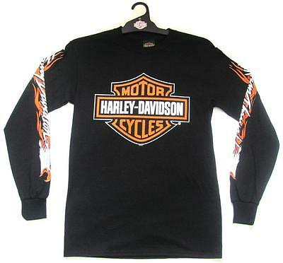 Harley Davidson Flame Eagle Black Bird Hd Mens Long Sleeve