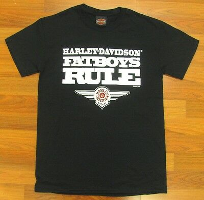 Harley Davidson Hd Black Fatboys Rule T-Shirt Short Sleeve