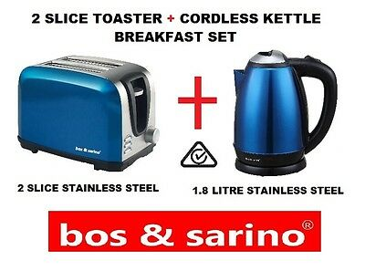 BOS &SARINO 2 Slice Glossy BLUE Toaster & 2L Cordless Kettle Stainless Steel Set