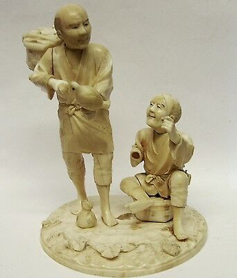 Antique Large High Quality very well Hand Carved Figures on hand carved base.