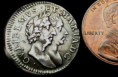 S387: 1689 William & Mary Conjoined Busts Silver Fourpence or Groat