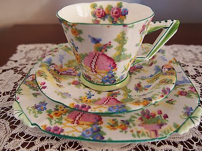 C 1930 Royal Albert Art Deco Crown China Trio 'Lady Gay'