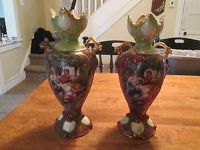 "Neoclassical Scene Pair Of Vases - Signed  Walley - Burgundy & Gold 14"" Tall"