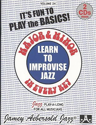 Aebersold Jazz Learn To Improvise Major & Minor Vol 24 w 2 CDs All Instruments