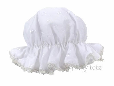 Baby Girls White Fully Lined Broderie Anglaise Mop Hat 0-6 Months Pesci Baby