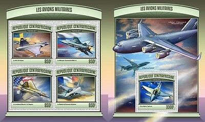 Z08 CA17106ab CENTRAL AFRICA 2017 Military planes MNH Mint Set