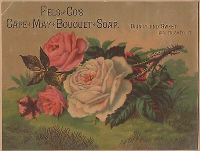 Victorian Trade Card-Cape May Bouquet Soap-Fels & Co-Philadelphia, PA-Roses