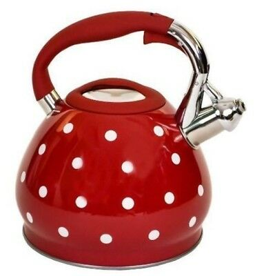 3.5L Stainless Steel Red Polka Dot Gas Electric Hob Whistling Kettle 1841