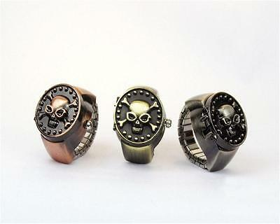 Antique Vintage Metal Punk Skull Pirate Cover Elastic Finger Ring Quartz Watch &