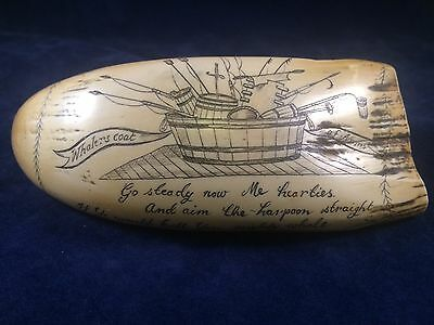 "Scrimshawed Whale Tooth Replica "" Whalers Coat of Arms"" Ship Whale Whaling Poem"