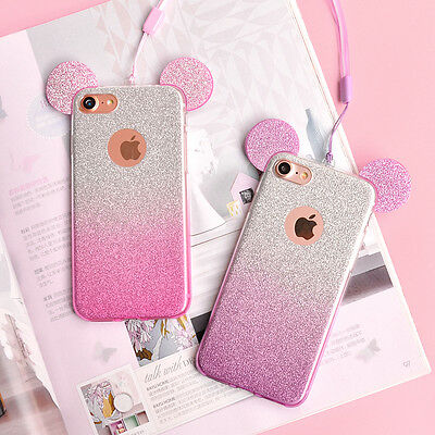 wholesale dealer 15638 ac916 GLITTERY DISNEY EARS Mickey Minnie Mouse iPhone 6/6S Case/Cover + Strap UK!  FAST