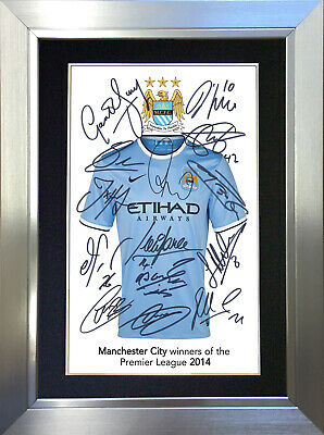 MANCHESTER CITY SHIRT Mounted Signed Photo Reproduction Autograph Print A4 460