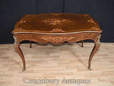 Antique French Empire Bureau Plat Desk Library Table Marquetry Inlay