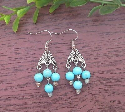 Vintage Turquoise Gemstone Small Chandelier Dangle Earrings ~ Victorian Style