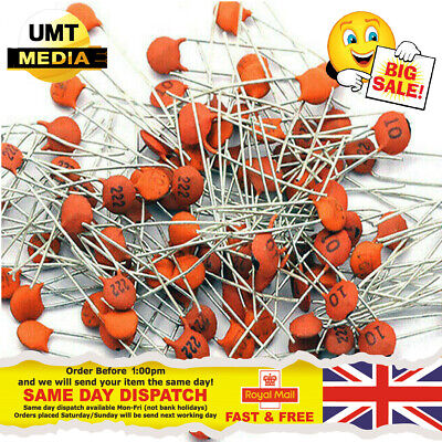 300 X Ceramic Disc Capacitors 50V 30 values, 10pcs Each Kind Assortment Kit Mix